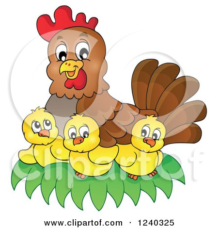 Clipart of a Happy Mother Hen and Chicks - Royalty Free Vector Illustration by visekart