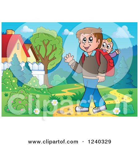 Clipart of a Happy Father Walking in a Meadow with a Baby on His Back - Royalty Free Vector Illustration by visekart