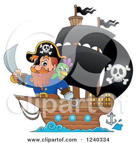 Clipart of a Pirate Captain and Parrot at the Front of a Ship - Royalty Free Vector Illustration by visekart