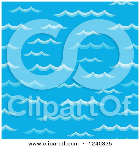 Clipart of a Seamless Backgorund of Blue Waves - Royalty Free Vector Illustration by visekart