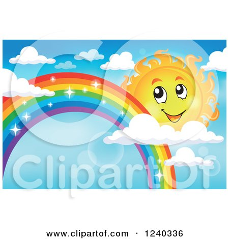 Clipart of a Happy Sun by a Sparkly Rainbow in the Sky - Royalty Free Vector Illustration by visekart