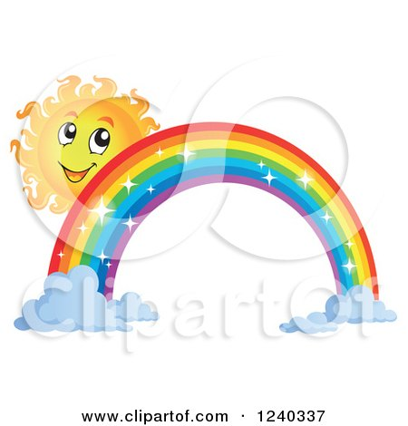 Clipart of a Happy Sun by a Sparkly Rainbow - Royalty Free Vector Illustration by visekart