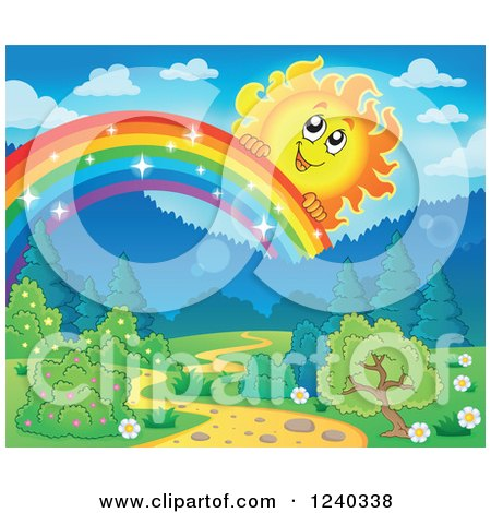 Clipart of a Happy Sun over a Sparkly Rainbow and Path - Royalty Free Vector Illustration by visekart