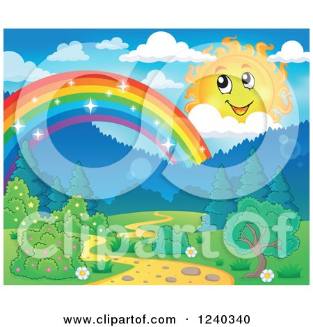 Clipart of a Happy Sun with Clouds over a Sparkly Rainbow and Path - Royalty Free Vector Illustration by visekart