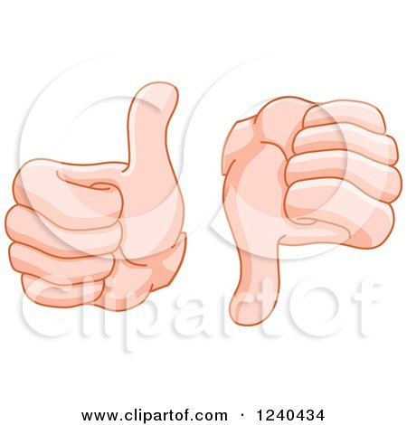 Clipart of Hands Giving a Thumb up and down - Royalty Free Vector Illustration by yayayoyo
