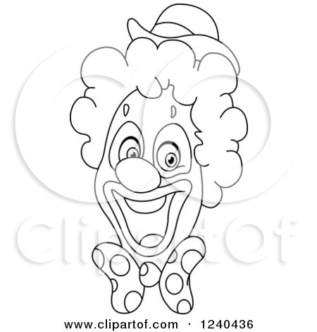 Clipart of a Black and White Happy Clown Face - Royalty Free Vector Illustration by yayayoyo