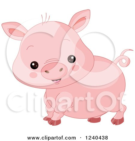 Clipart of a Cute Farm Animal Pig - Royalty Free Vector Illustration by Pushkin