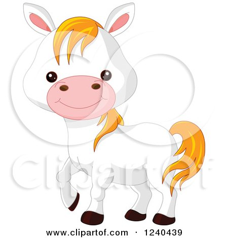 Clipart of a Cute Farm Animal White Pony Horse - Royalty Free Vector Illustration by Pushkin