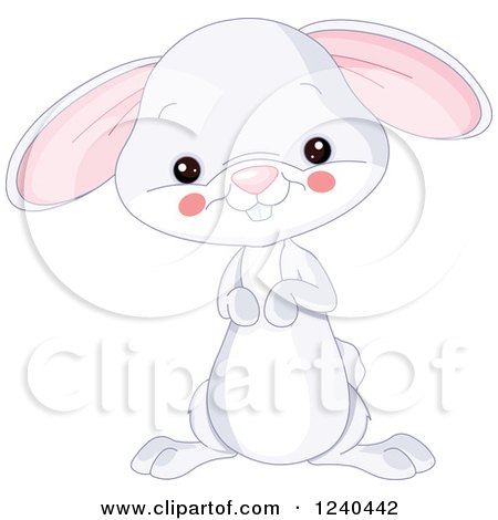 Clipart of a Cute Farm Animal Bunny Rabbit - Royalty Free Vector Illustration by Pushkin