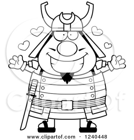 Clipart of a Black and White Loving Samurai Warrior with Open Arms and Hearts - Royalty Free Vector Illustration by Cory Thoman