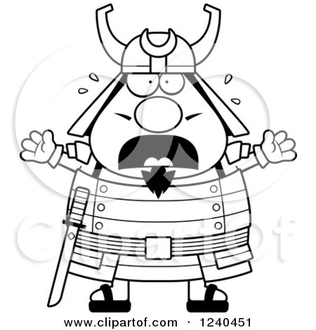 Clipart of a Black and White Scared Screaming Samurai Warrior - Royalty Free Vector Illustration by Cory Thoman