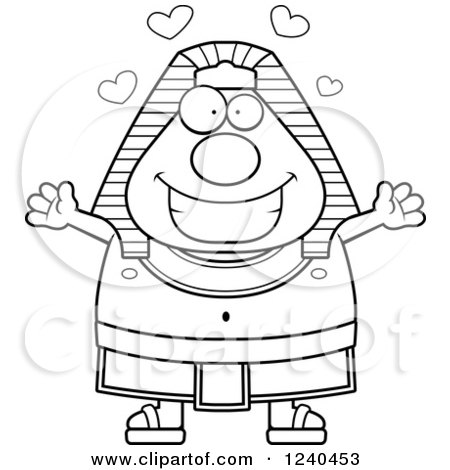 Clipart of a Black and White Loving Ancient Egyptian Pharaoh with Open Arms and Hearts - Royalty Free Vector Illustration by Cory Thoman