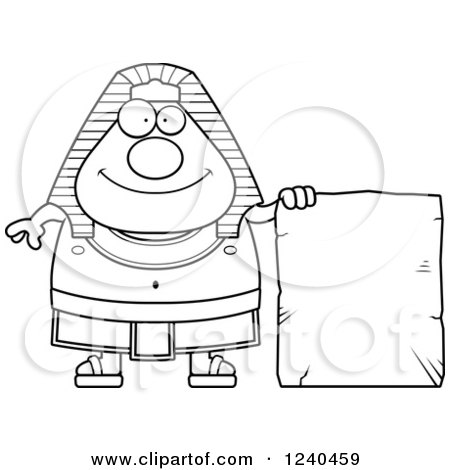 Clipart of a Black and White Happy Ancient Egyptian Pharaoh with a Tablet Sign - Royalty Free Vector Illustration by Cory Thoman