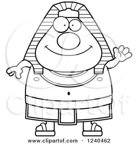 Clipart of a Black and White Friendly Waving Ancient Egyptian Pharaoh - Royalty Free Vector Illustration by Cory Thoman