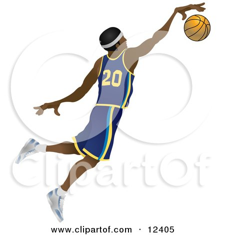 Male African American Basketball Athlete Jumping With the Ball People Clipart Illustration by AtStockIllustration