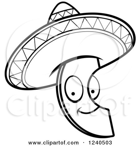 Clipart Of A Black And White Happy Mexican Avocado Slice With A