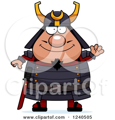 Clipart of a Friendly Waving Samurai Warrior - Royalty Free Vector Illustration by Cory Thoman