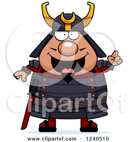 Clipart of a Smart Samurai Warrior with an Idea - Royalty Free Vector Illustration by Cory Thoman
