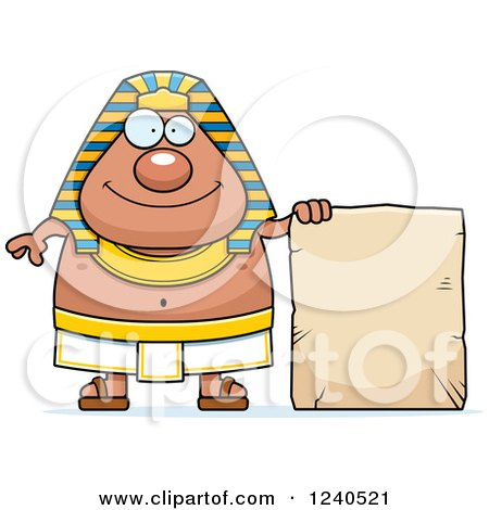 Clipart of a Happy Ancient Egyptian Pharaoh with a Tablet Sign - Royalty Free Vector Illustration by Cory Thoman