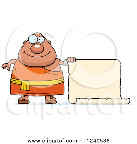 Clipart of a Happy Chubby Buddhist Man with a Scroll Sign - Royalty Free Vector Illustration by Cory Thoman