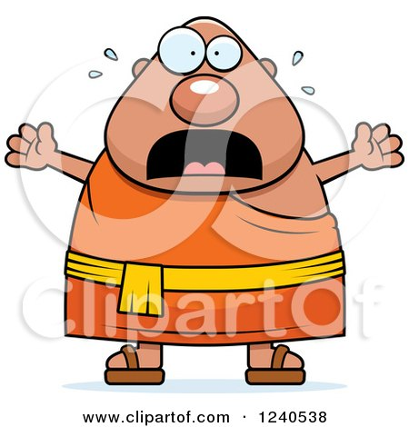 Clipart of a Scared Screaming Chubby Buddhist Man - Royalty Free Vector Illustration by Cory Thoman