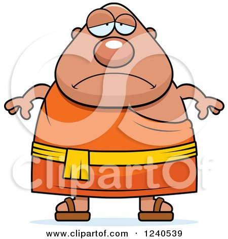 Clipart of a Sad Depressed Chubby Buddhist Man - Royalty Free Vector Illustration by Cory Thoman