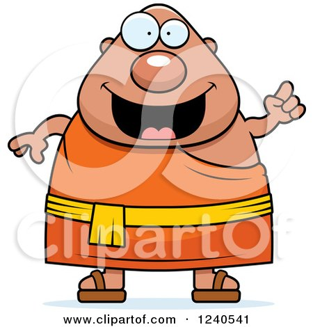 Clipart of a Smart Chubby Buddhist Man with an Idea - Royalty Free Vector Illustration by Cory Thoman