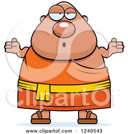 Clipart of a Careless Shrugging Chubby Buddhist Man - Royalty Free Vector Illustration by Cory Thoman