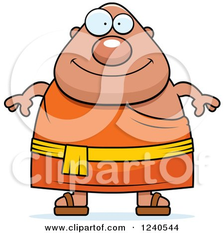 Clipart of a Happy Chubby Buddhist Man - Royalty Free Vector Illustration by Cory Thoman