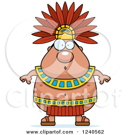 Clipart of a Surprised Gasping Aztec Chief King - Royalty Free Vector Illustration by Cory Thoman