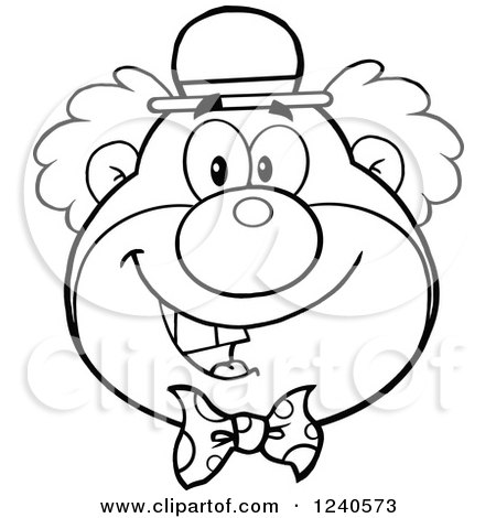 Clipart of a Black and White Happy Clown Face - Royalty Free Vector Illustration by Hit Toon