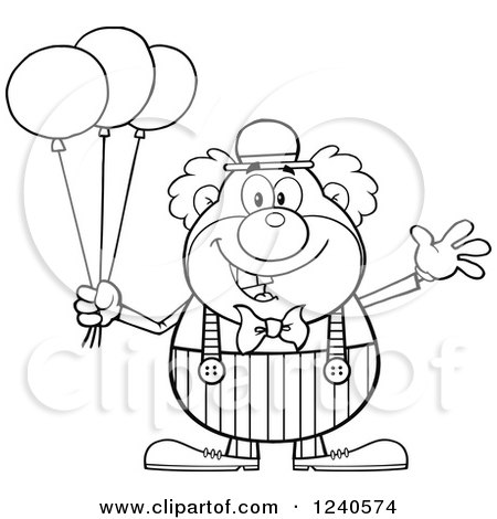 Clipart Of A Black And White Happy Clown With Balloons