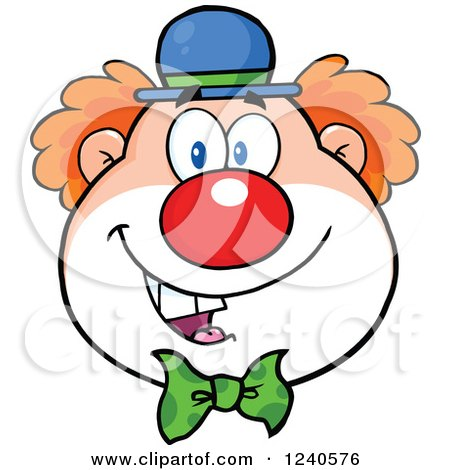 Clipart of a Happy Clown Face - Royalty Free Vector Illustration by Hit Toon
