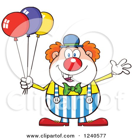 Clipart of a Happy Clown with Colorful Balloons - Royalty Free Vector Illustration by Hit Toon