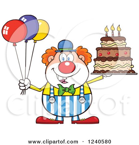 Clipart of a Happy Clown with Colorful Balloons and a Birthday Cake
