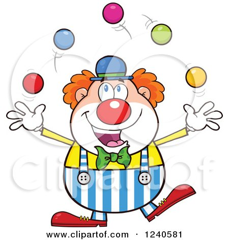 Clipart of a Happy Clown Juggling - Royalty Free Vector Illustration by Hit Toon