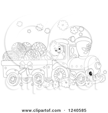 Clipart of a Black and White Chick Driving a Train with Easter Eggs - Royalty Free Vector Illustration by Alex Bannykh