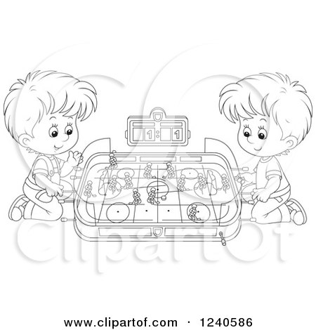 Clipart of Black and White Boys Playing Table Hockey - Royalty Free Vector Illustration by Alex Bannykh