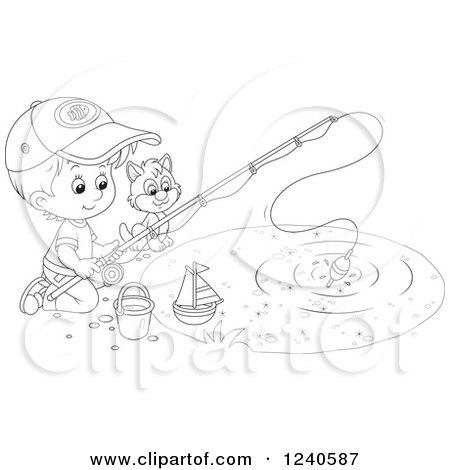 Clipart of a Black and White Boy and Cat Fishing - Royalty Free Vector Illustration by Alex Bannykh