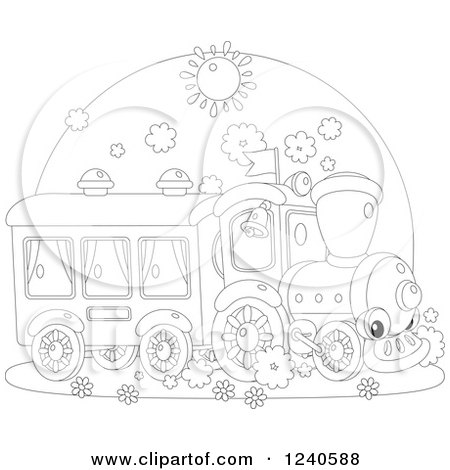 Clipart of a Black and White Happy Train on a Sunny Day - Royalty Free Vector Illustration by Alex Bannykh