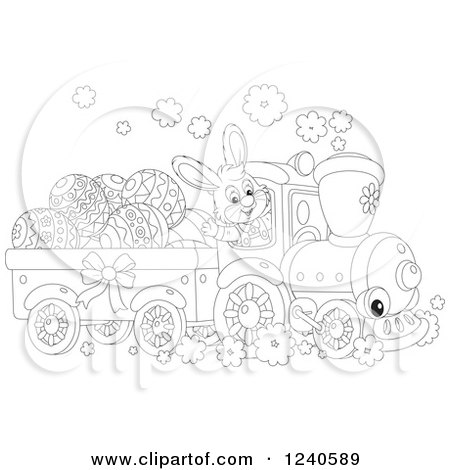 Clipart of a Black and White Happy Rabbit Driving an Easter Train - Royalty Free Vector Illustration by Alex Bannykh