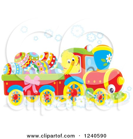 Happy Chick Driving a Train with Easter Eggs Posters, Art Prints