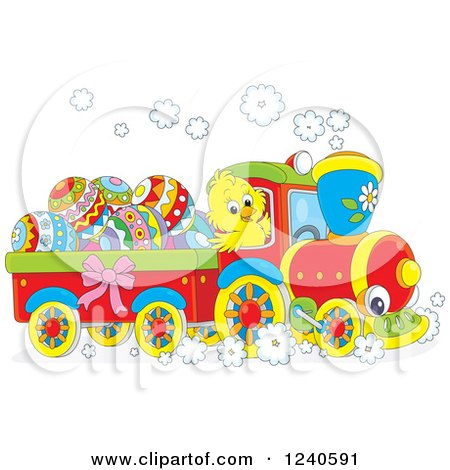 Clipart of a Yellow Chick Driving a Train with Easter Eggs - Royalty Free Vector Illustration by Alex Bannykh