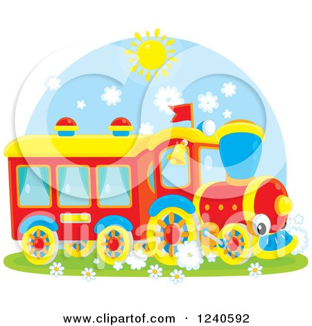 Clipart of a Happy Train on a Sunny Day - Royalty Free Vector Illustration by Alex Bannykh