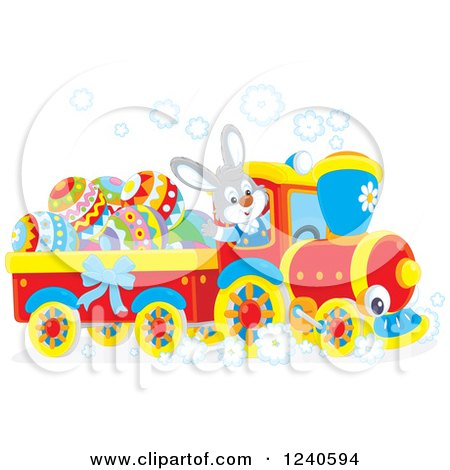 Clipart Of A Happy Rabbit Driving An Easter Train Royalty Free Vector Illustration