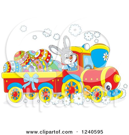 Clipart of a Happy Bunny Rabbit Driving an Easter Train - Royalty Free Vector Illustration by Alex Bannykh