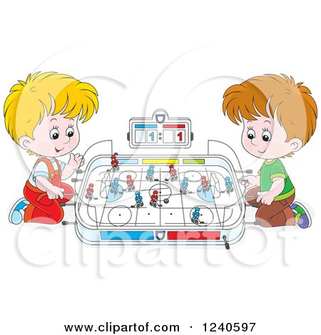Clipart of Two Caucasian Boys Playing Table Hockey - Royalty Free Vector Illustration by Alex Bannykh