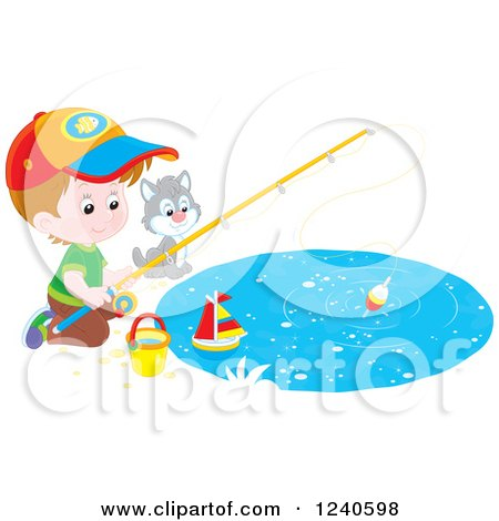 Clipart of a Caucasian Boy and Cat Fishing - Royalty Free Vector Illustration by Alex Bannykh