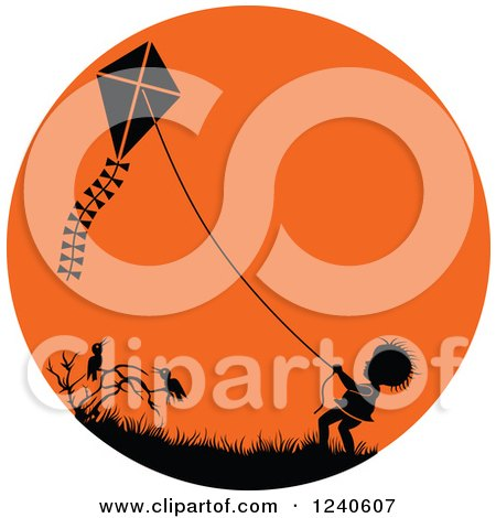 Silhouetted Boy Flying a Kite over Crows in an Orange Circle Posters, Art Prints