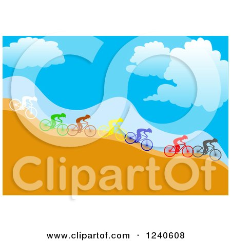 Clipart of a Group of Diverse Colorful Cyclists Going down a Hillside - Royalty Free Vector Illustration by pauloribau